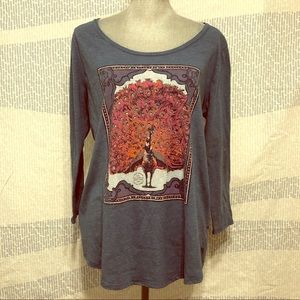 Lucky Brand long sleeve peacock graphic tee